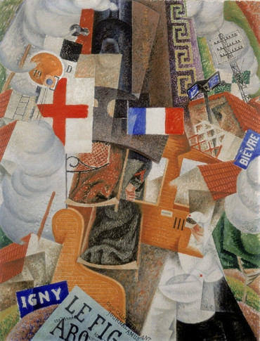 Gino Severini, Hospital Train, 1915. The French flag can be seen as a nationalistic tribute from an assimilated Italian immigrant during the First World War.