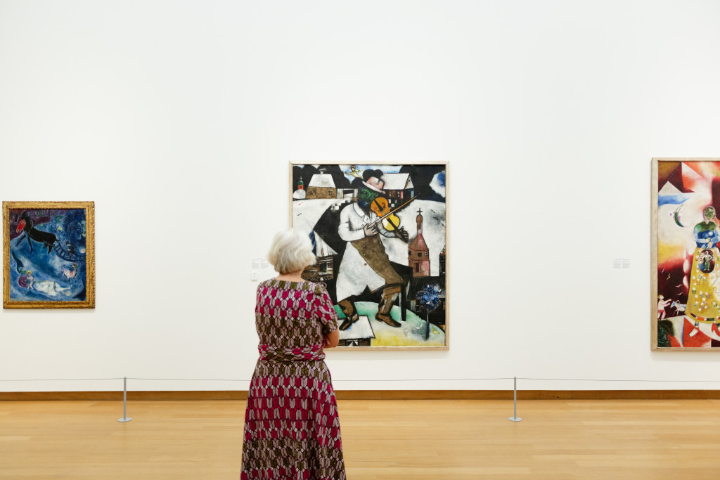 Chagall, The Virgin with the Sleigh, 1947, gift of the artist; The Violinist, 1912-13; The Pregnant Woman (Maternity), 1913 (partially visible), both: gift of P.A. Regnault to the Dutch State as a loan to the Stedelijk Museum, 1953. Photo: Maarten Nauw.