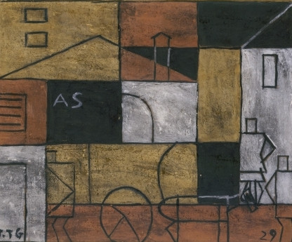 Joaquín Torres-García, Structure with Street, 1929. Modern immigrant artists incorporated elements of their cultural backgrounds in their art. In the case of Torres-Garcia, these are Inca structures.