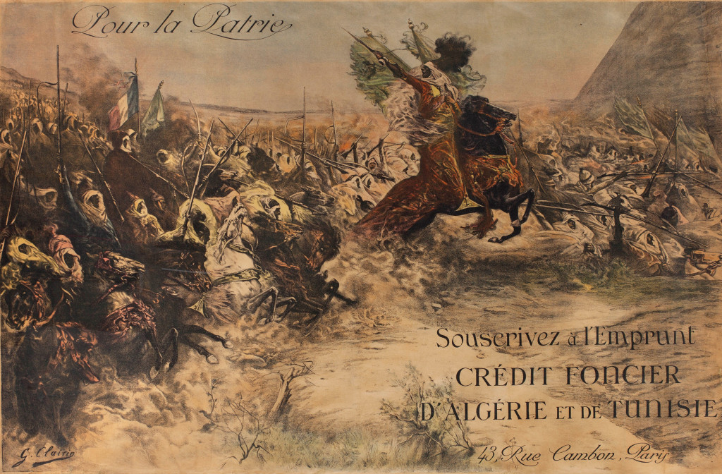 Poster by Georges Clairin from 1918, intended to raise money to finance the First World War. More than 300,000 colonial soldiers from North Africa fought in Europe. Many remained in France after the war.
