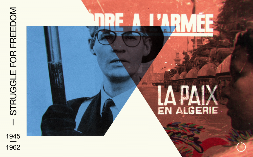 Composition from introduction film: Studio Wim in collaboration with Stedelijk Museum. French-Algerian colonial war, photos by Eva Besnyö and Johan van der Keuken that in the exhibition suggested the tensions in Paris at that time.