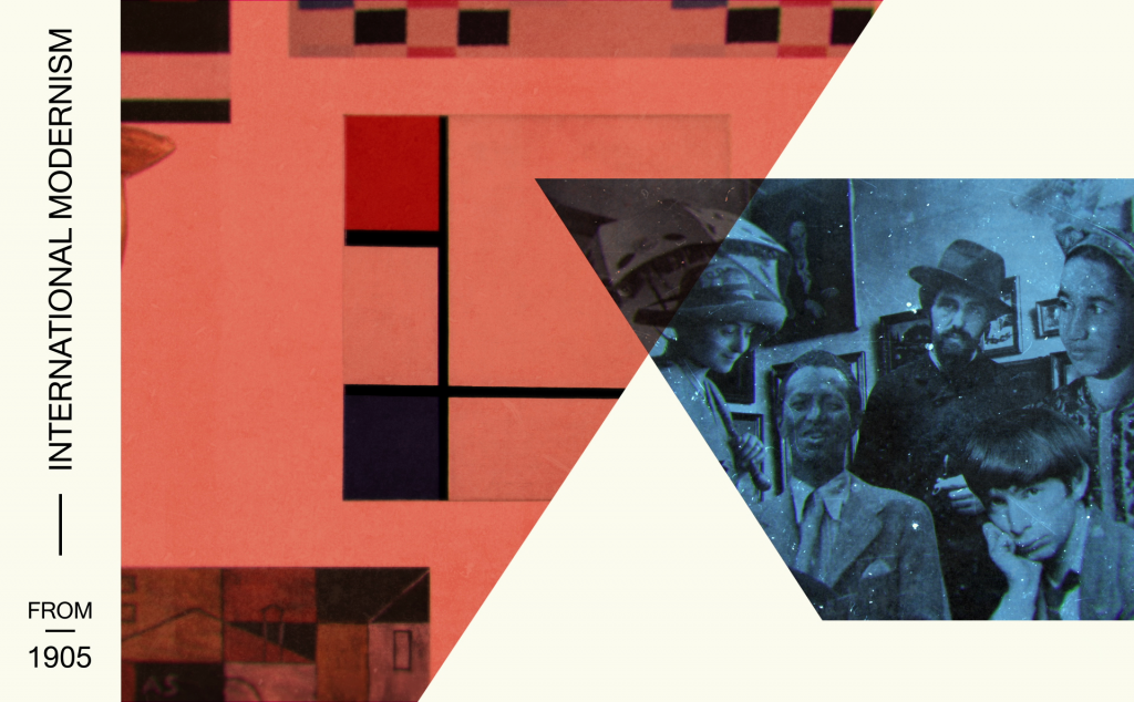 Composition from introduction film: Studio Wim in collaboration with Stedelijk Museum. Modern immigrant artists in Paris, from left to right: Sonia Delaunay, Wifredo Lam, Joaquín Torres-García, Ossip Zadkine and Baya Mahieddine.