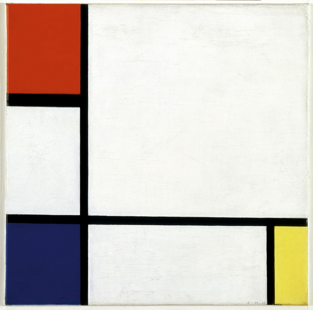 Piet Mondrian, Composition No. IV, with Red, Blue and Yellow, 1929. Modern immigrant artists incorporated elements of their cultural backgrounds in their art. In the case of Mondrian, these are spiritual ideas on the elevation of the individual.