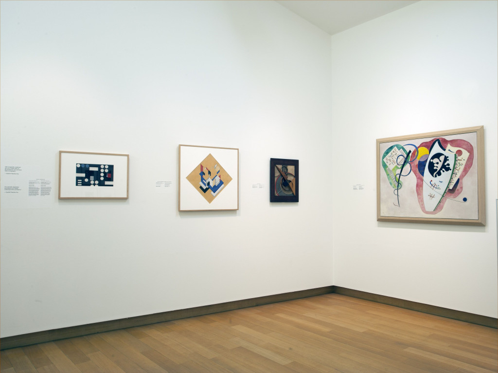 From left to right, works by Sophie Taeuber-Arp; Theo van Doesburg in collaboration with Cornelis van Eesteren; Wassily Kandinsky. Photo: Peter Tijhuis.