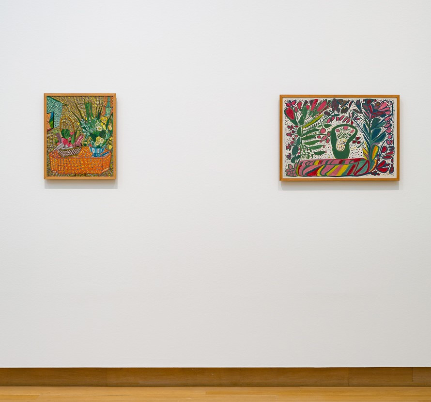 From left to right, Gesner Abélard, Dining Room, 1949; Robert Saint-Brice, Composition, 1948, both gifts of Chris Engels, Willemstad, 1950. Photo: Peter Tijhuis.