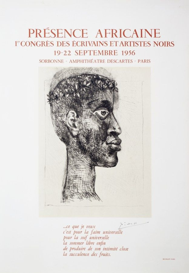 Pablo Picasso, poster for the First Congress of Black Writers and Artists,  Sorbonne, Paris, 1956. Portrayed: the famous poet and politician Aimé Césaire, writer of texts including Corps perdu (Lost Body), with illustrations by Picasso.