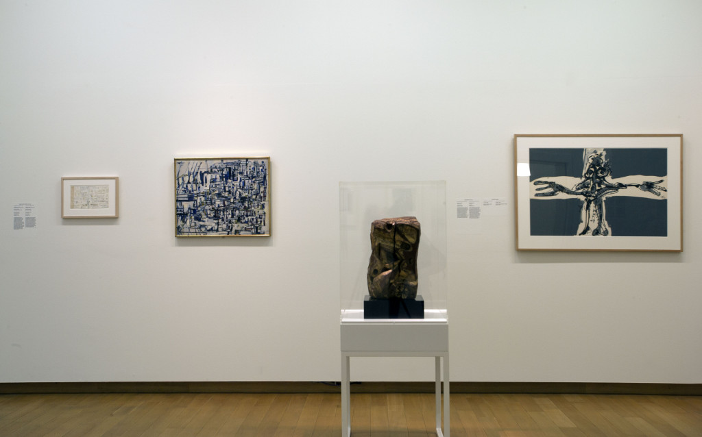 From left to right, Maria Helena Vieira da Silva, Untitled, 1960; City of Stones, 1954; Sesostris Vitullo, Dead Christ, 1949; Antonio Saura, Crucifixion, 1969. Photo: Peter Tijhuis.