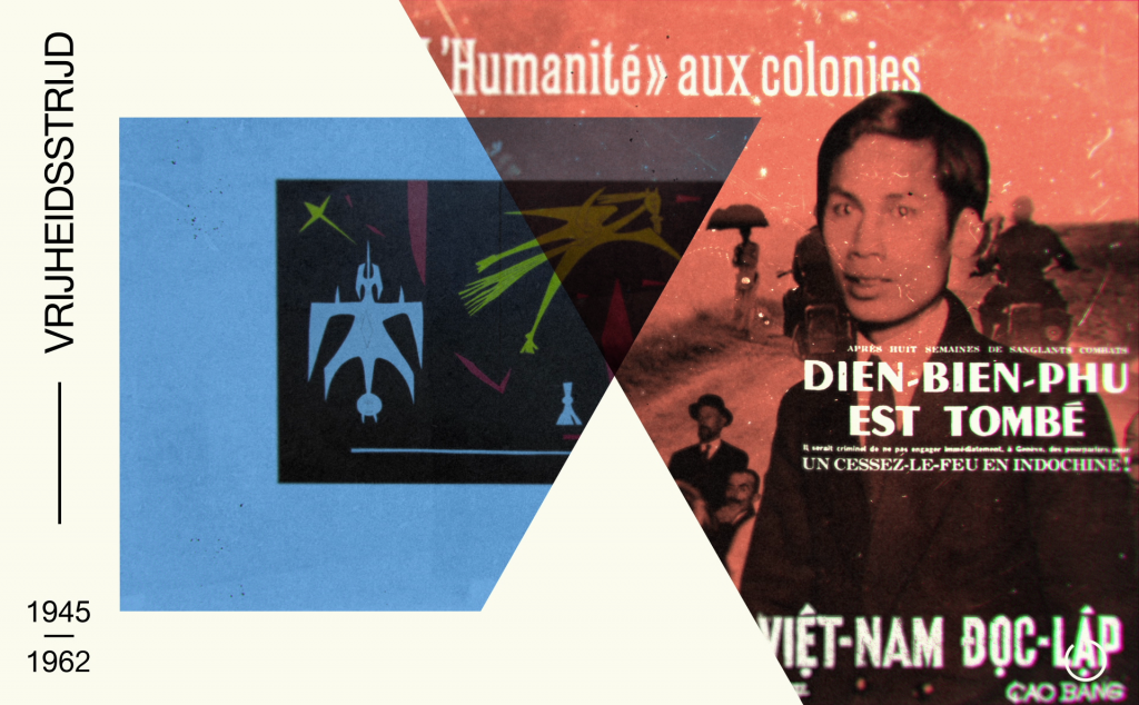 Composition from introduction film: Studio Wim in collaboration with Stedelijk Museum, Vietnam (formerly French Indochina), with Ho Chi Minh from a contextual image for a photo by Robert Capa in the exhibition.
