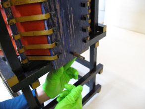 Detail during the treatment of a chair by Gerrit Rietveld