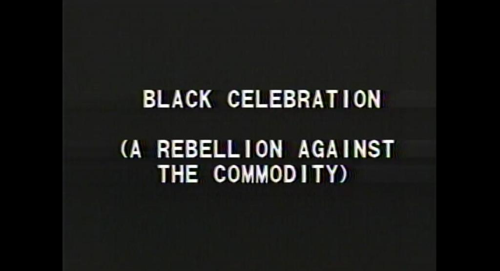 Tony Cokes, Black Celebration, film still, 1988. Courtesy of the artist; Greene Naftali, New York and Electronic Arts Intermix (EAI), New York.
