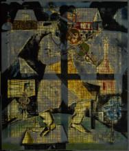 Marc Chagall, De Violist, 1912. Comité Marc Chagall, c/o Pictoright Amsterdam 2019. Langdurig bruikleen Rijksdienst voor het Cultureel Erfgoed. Through-light photo (montage). Foto: René Gerritsen