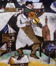 Marc Chagall, De Violist, 1912. Comité Marc Chagall, c/o Pictoright Amsterdam 2019. Langdurig bruikleen Rijksdienst voor het Cultureel Erfgoed. Foto: René Gerritsen