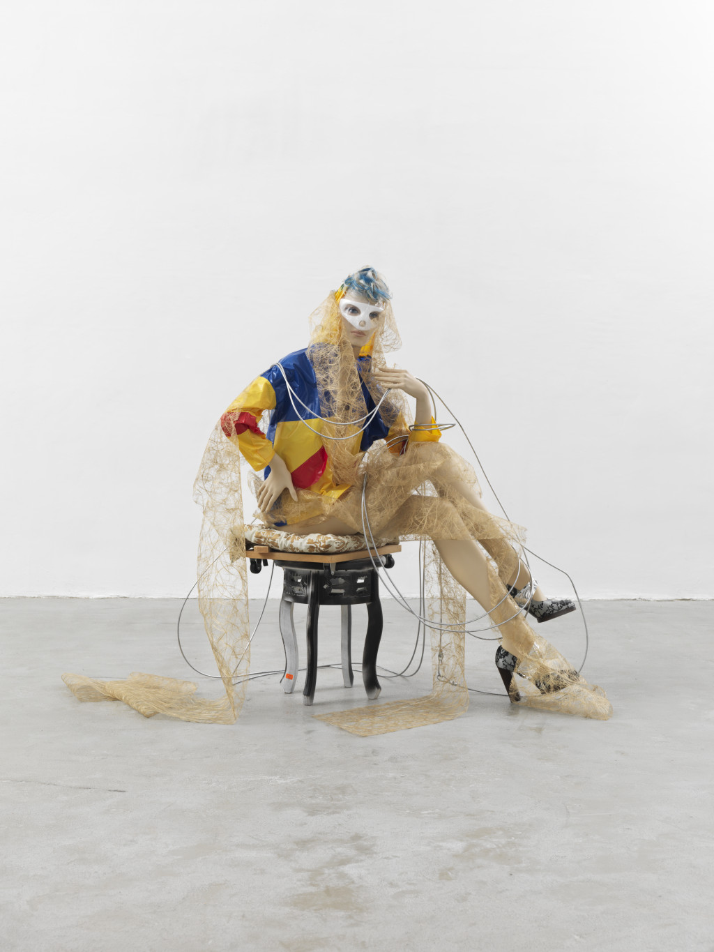 "Isa Genzken ""Schauspieler"", 2013 mannequin, stool, shoes, wig, wood, fabric, plastic, metal dimensions variable  Collection Syz, Geneva"