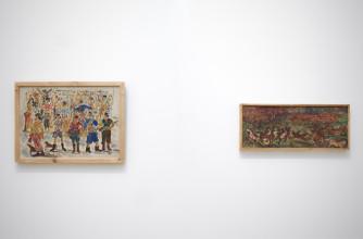 Agoes en Otto Djaya, zaalopname ''Ik ben een geboren buitenlander'', 2017, Stedelijk Museum Amsterdam. Foto: Gert Jan van Rooij