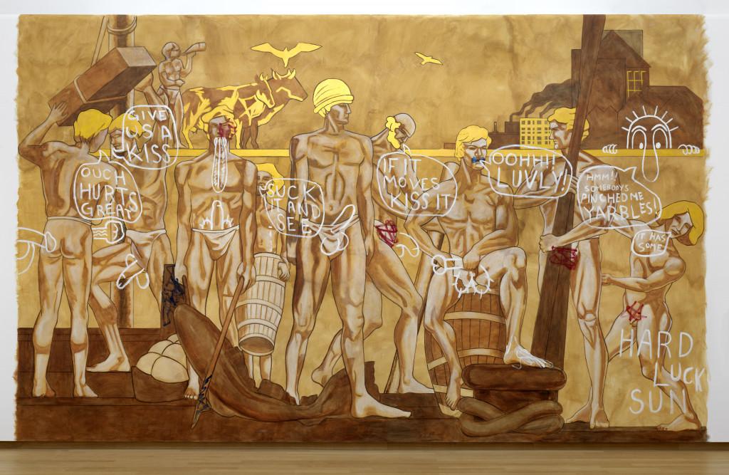 Lucy McKenzie. If it Moves Kiss It II, 2002. Acrylverf op muur. Collectie Stedelijk Museum Amsterdam, schenking Thomas Borgmann, Berlijn. (Installatie Stedelijk Museum november 2017. Foto: Gert Jan van Rooij)