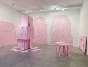 Lily van der Stokker, Huh (installation view, Koenig & Clinton, New York), 2014, courtesy the artist and Koenig & Clinton, Brooklyn. Photo: Jeffrey Sturges, Brooklyn.