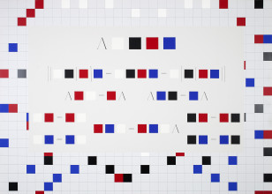 Catherine Christer Hennix, C- Algebra w/ Undecidable Word Problem, acrylic paint on canvas, 195 x 270.5 x 5.5 cm, 1975-1991. Collectie Stedelijk Museum Amsterdam.