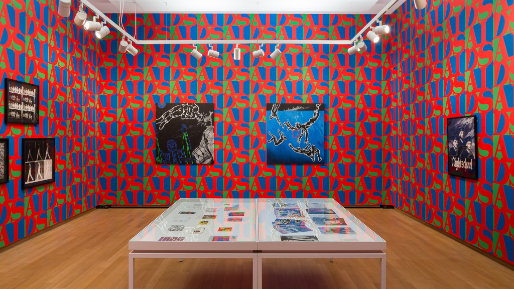 Installation View, True Luxury…, 2018, Stedelijk Museum Amsterdam. General Idea's AIDS Wallpaper (1989) is a joint purchase of Centraal Museum, Utrecht and Stedelijk Museum with financial support from the Rembrandt Society, 2018. Photo: Peter Tijhuis