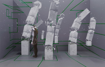 Studio Drift, Concrete Storm, courtesy of Artsy in partnership with Microsoft HoloLens. World premiere at The Armory Show, New York (2017). Photography by: Silvia Ros