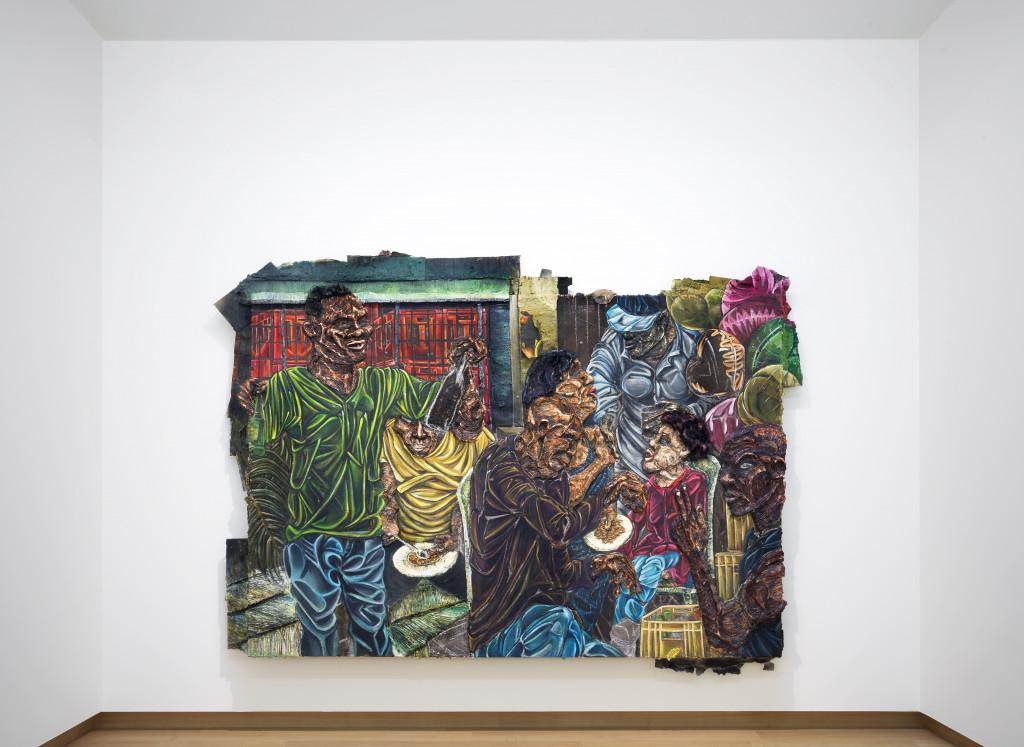 Raquel van Haver, Reason for Being, 2018. Oil on burlap, homemade paint, cardboard, tar, charcoal, chalk, gel, resin, hair, posters, paper, plastic, beads. Courtesy the artist. Photo: Gert Jan van Rooij