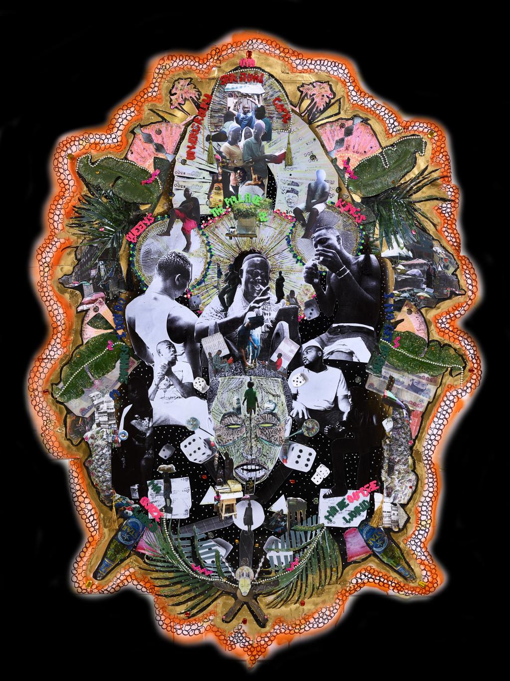 Raquel van Haver, A Shrine of a Deity: L'enyin ise aye Lo Ku, 2018. Photo of collage, diasec. Courtesy the artist. Photo: Hans Wilschut.