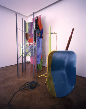 Jessica Stockholder, 'Coupling', 1998, metal, textile, plastic, paint, electric heater, collection Stedelijk Museum Amsterdam.