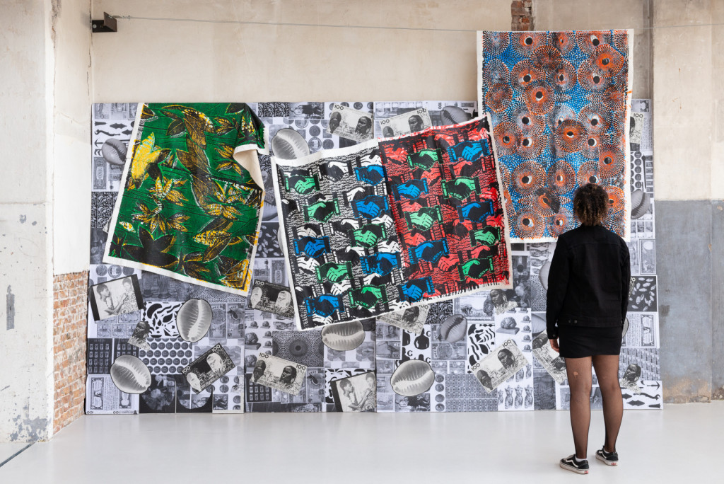 Farida Sedoc, The Future Ain't What It Used To Be, 2019, collage on paper, 400 cm x 300 cm, screen prints on cotton (each 100 cm x 150 cm, Gentleman's Agreement, Welcome To Society, The Sun Rises In The East). Photo Tom Janssen.