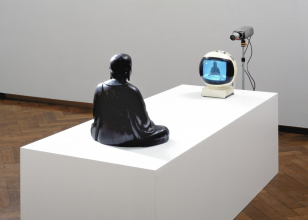 Nam June Paik, TV-Buddha, 1974. Collection Stedelijk Museum Amsterdam. Photo: Stedelijk Museum Amsterdam.