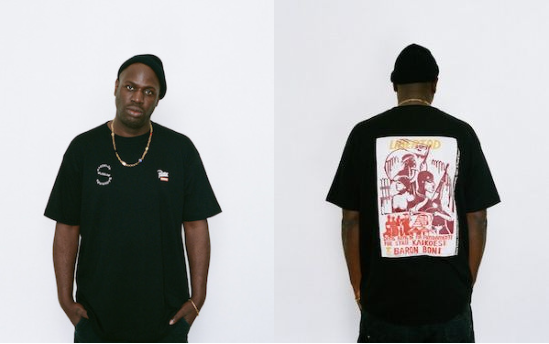 Afbeelding op t-shirt: René Tosari, 'Untitled (400 jaar Verzet en Strijd Suriname)', 1981, linosnede op papier. Collectie René Tosari, Paramaribo