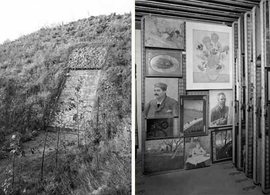 De bunker bij Castricum, met werk van oa. Van Gogh. Foto Joh. de Haas, coll. Stedelijk Museum Amsterdam