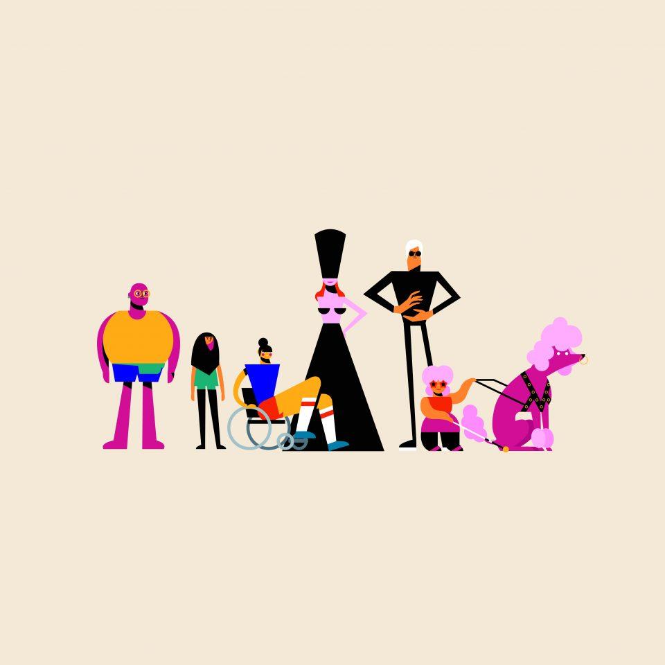 Still uit de animatie van STUDIO i. Deze toont allerlei oop het oog verschillende mensen.