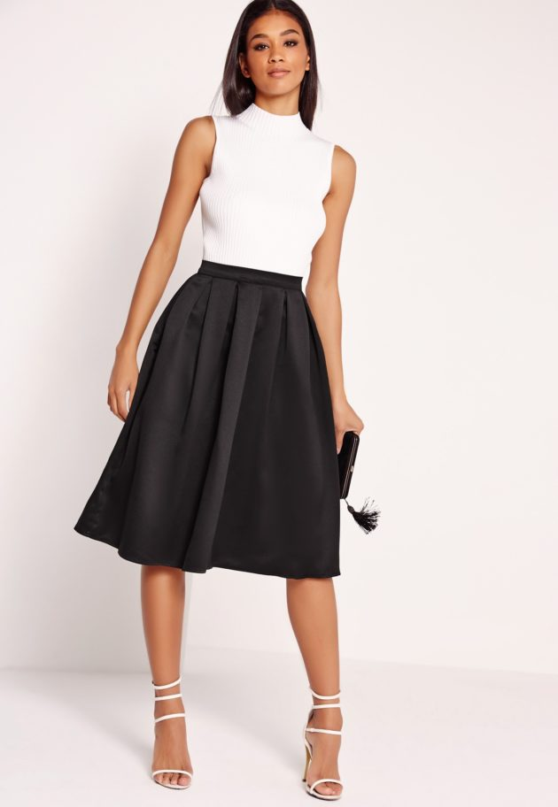 box pleat satin skirt by missguided