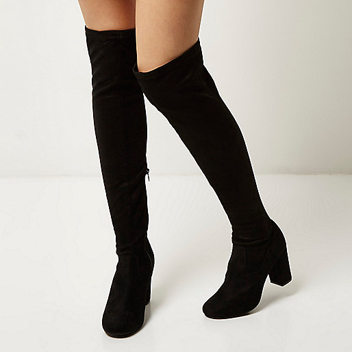 black over knee boots from river island