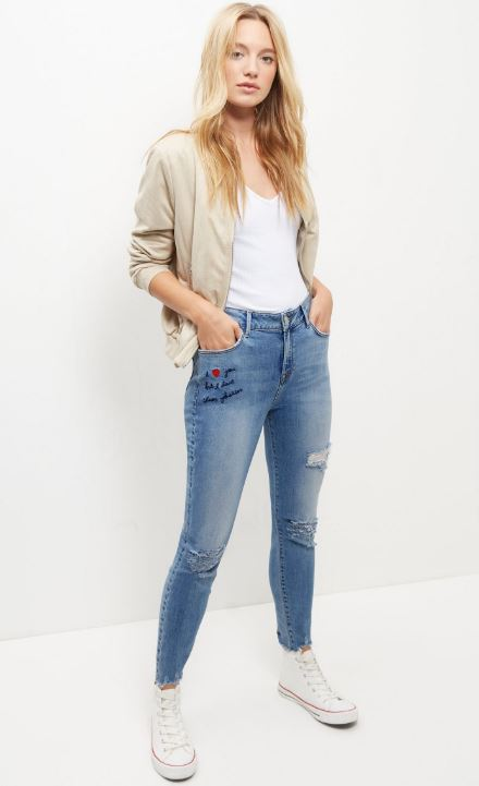 embroidered jeans new look