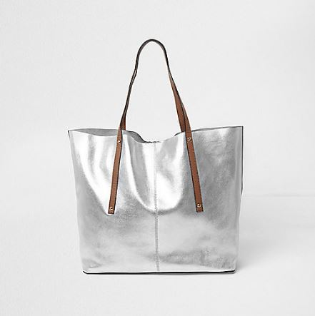 silver tote bag spring fashion