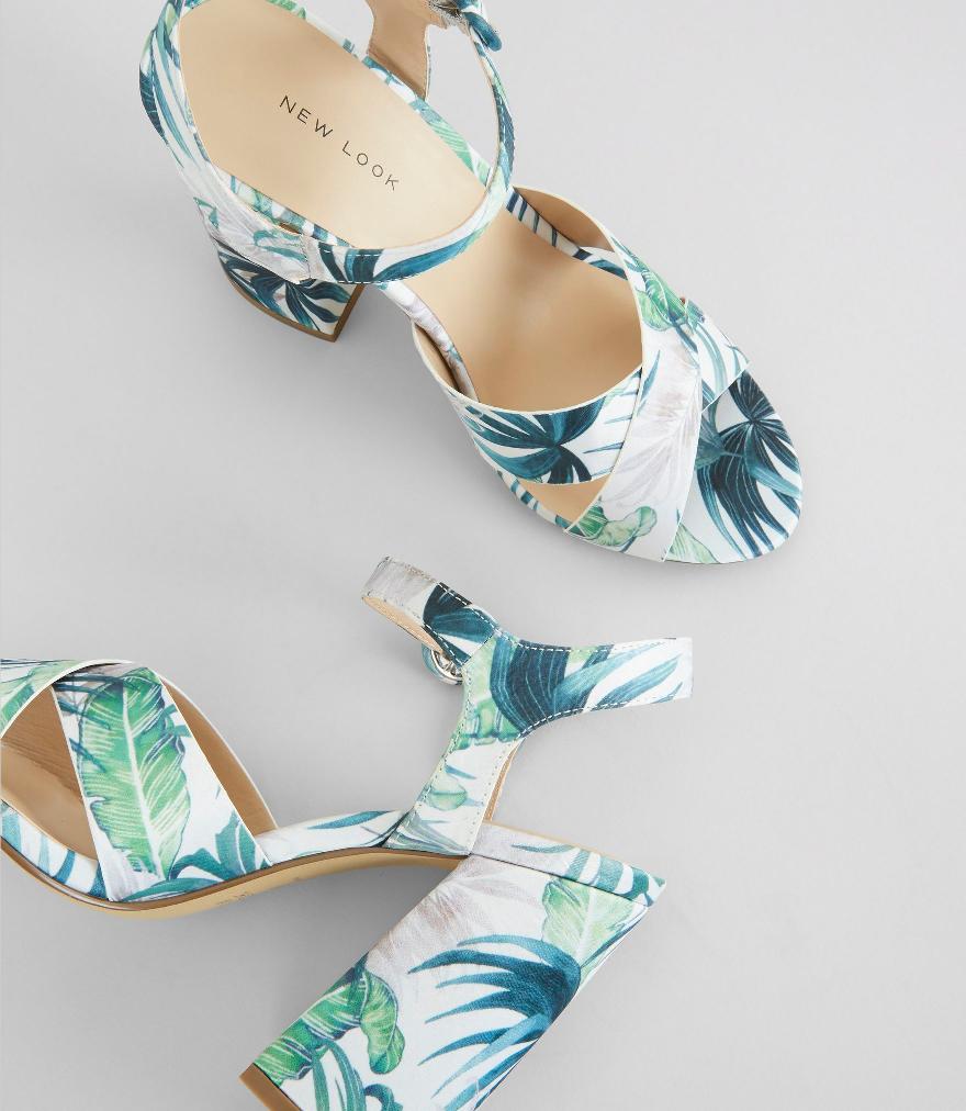 palm tree print sandals
