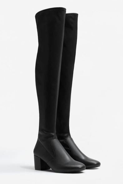 faux leather over knee boots