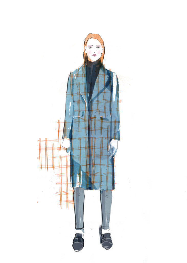 Long blue check coat