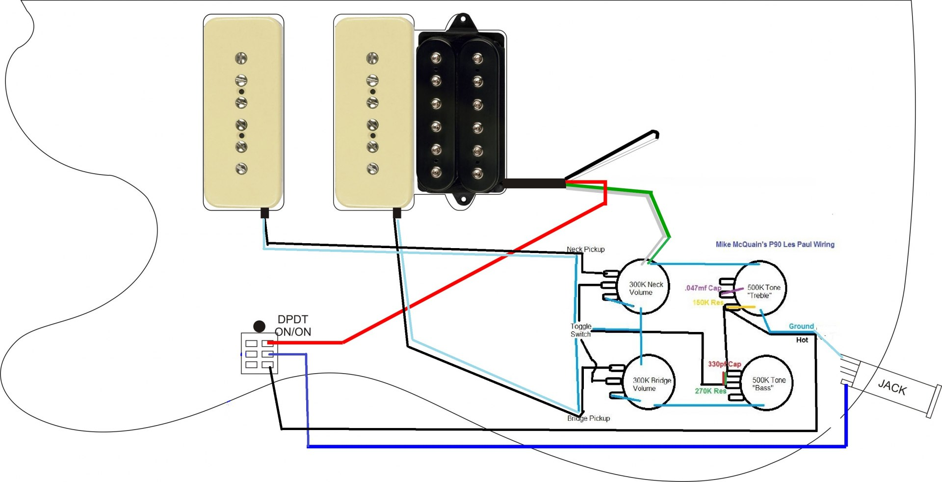 Guitar Wiring P90 3 Data Diagram For Bass Antique Mini