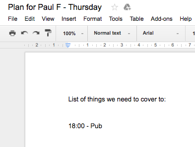To do list for Paul's first day at IF