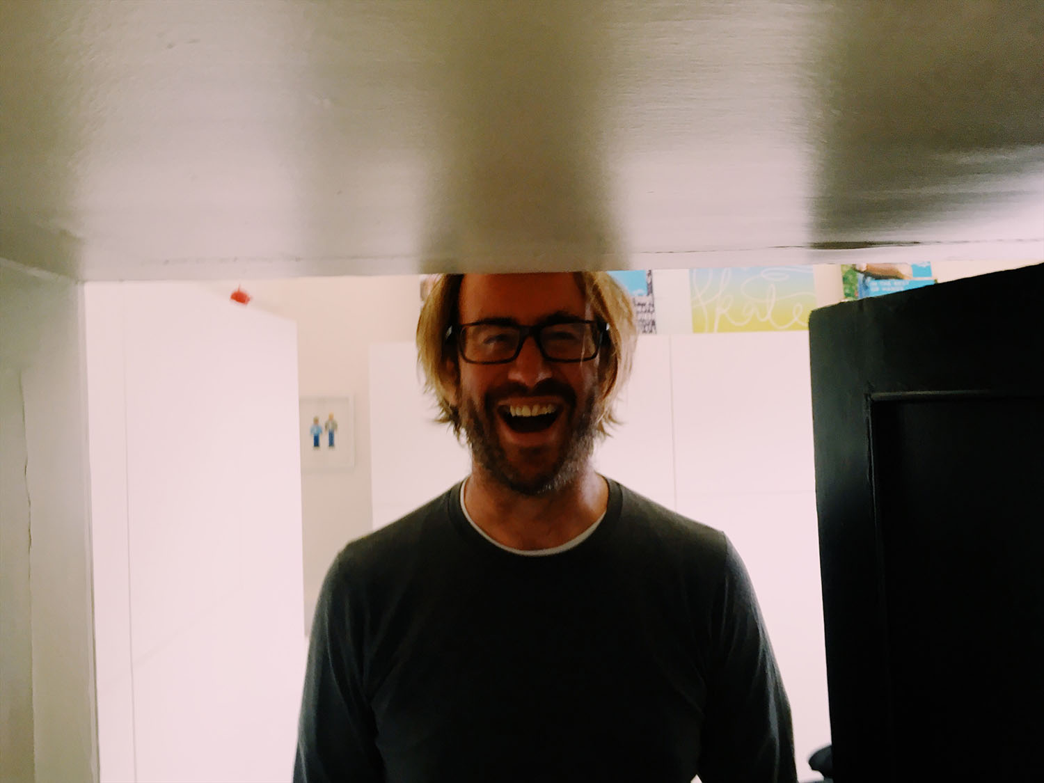 Testing the head clearance in our new office at Somerset House