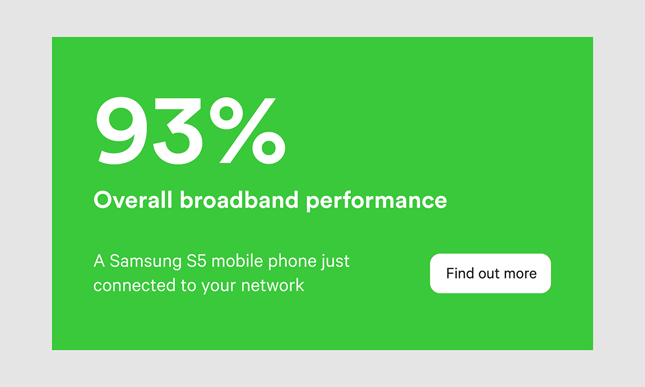 "An illustration with a green background, with the text ""93% overall broadband performance. A Samsung S5 mobile just connected to your network"". A white button with the text ""Find out more""."