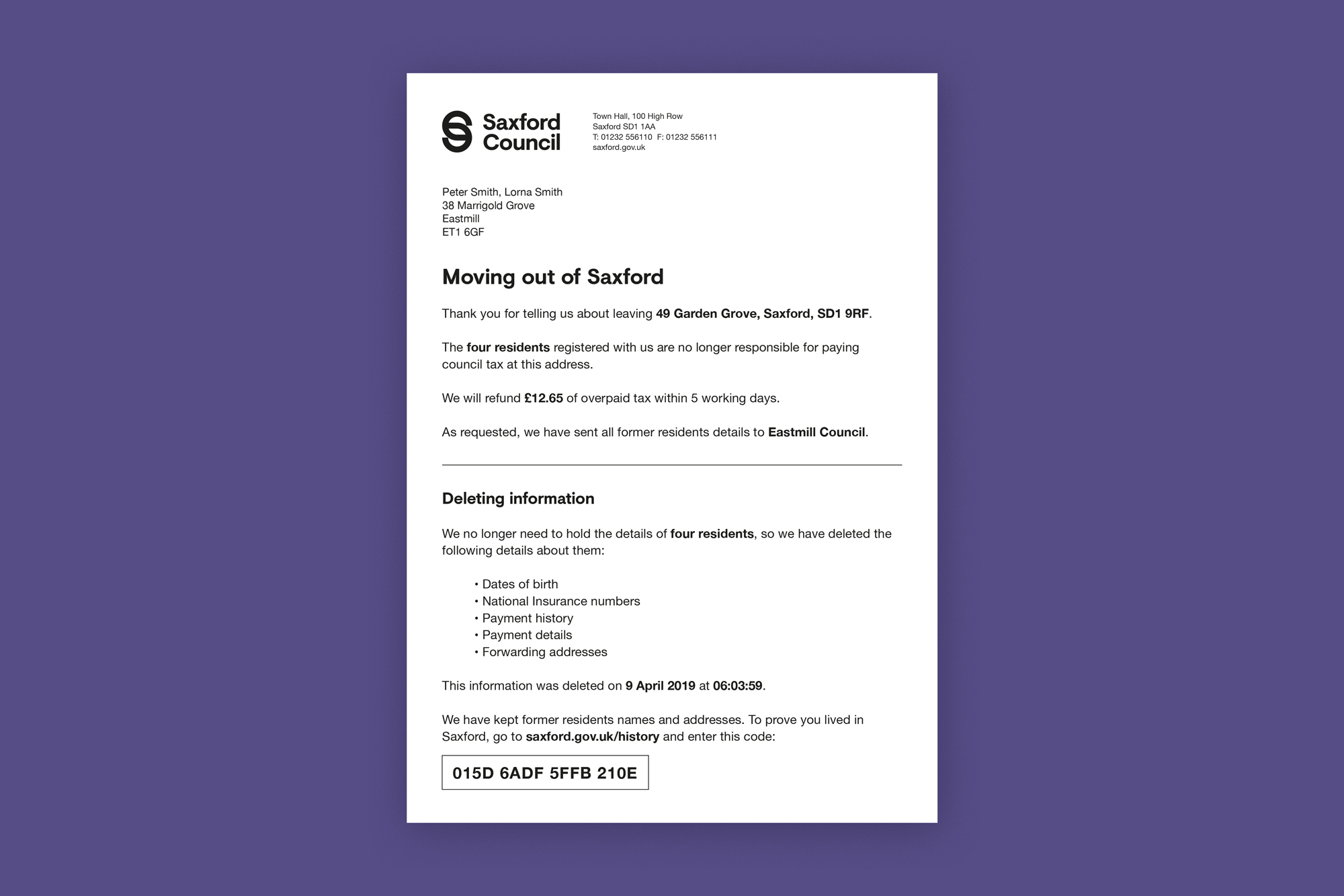 Coundcil tax letter confirming house move and deleting council tax information for previous property