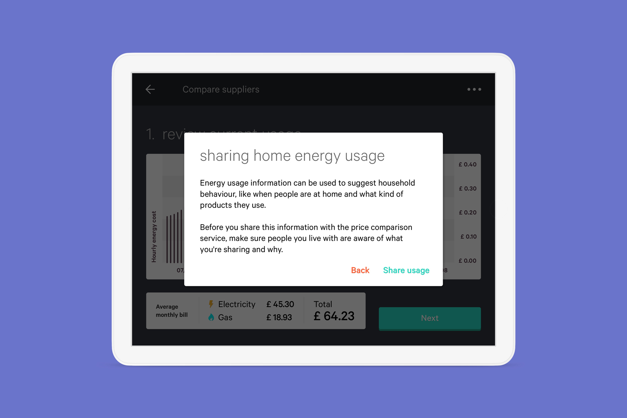 Screen with message to prompt people to disucss sharing energy usage data with others they live with