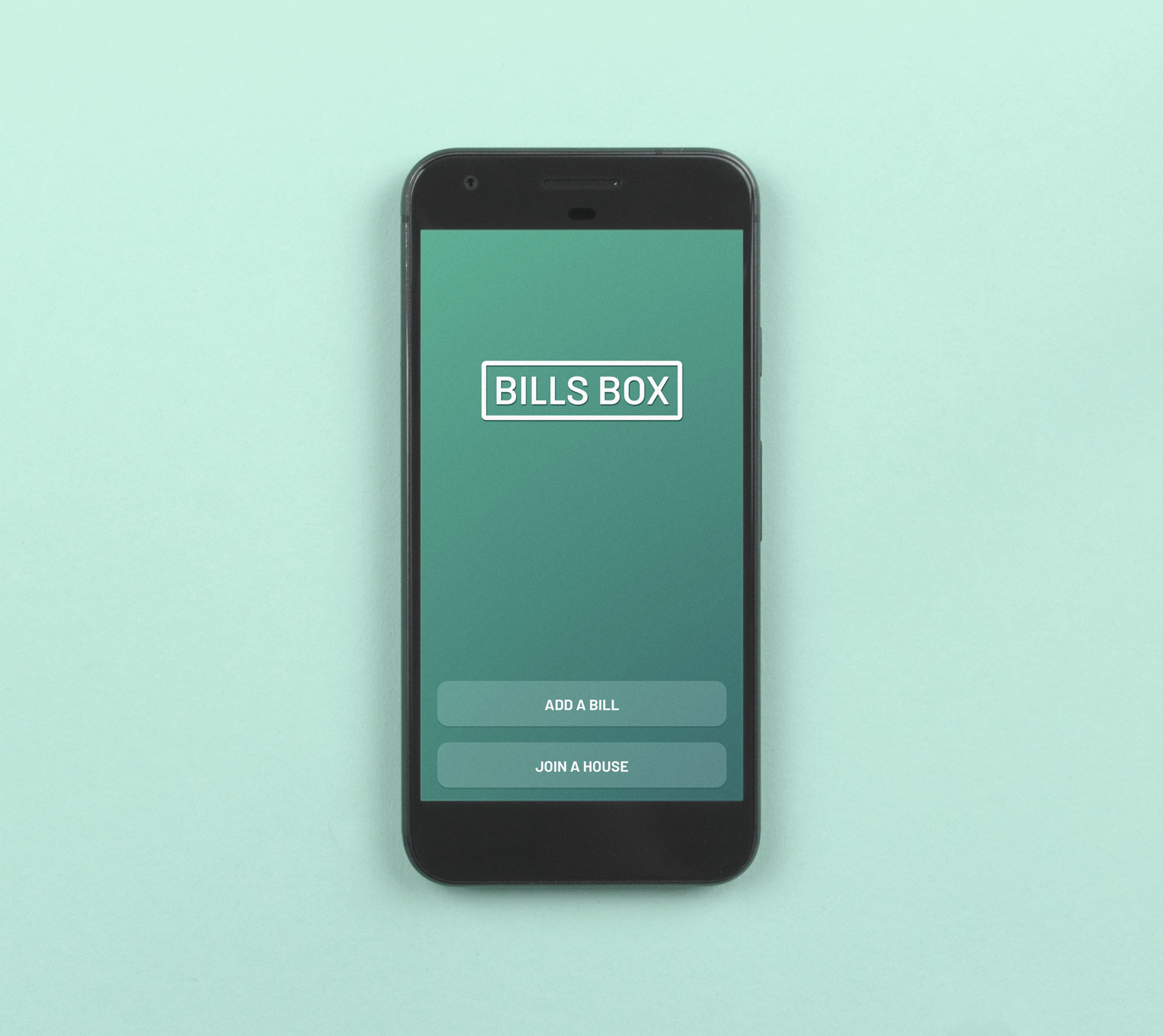 Bills box app launch screen showing 'add an account' and 'join house' buttons