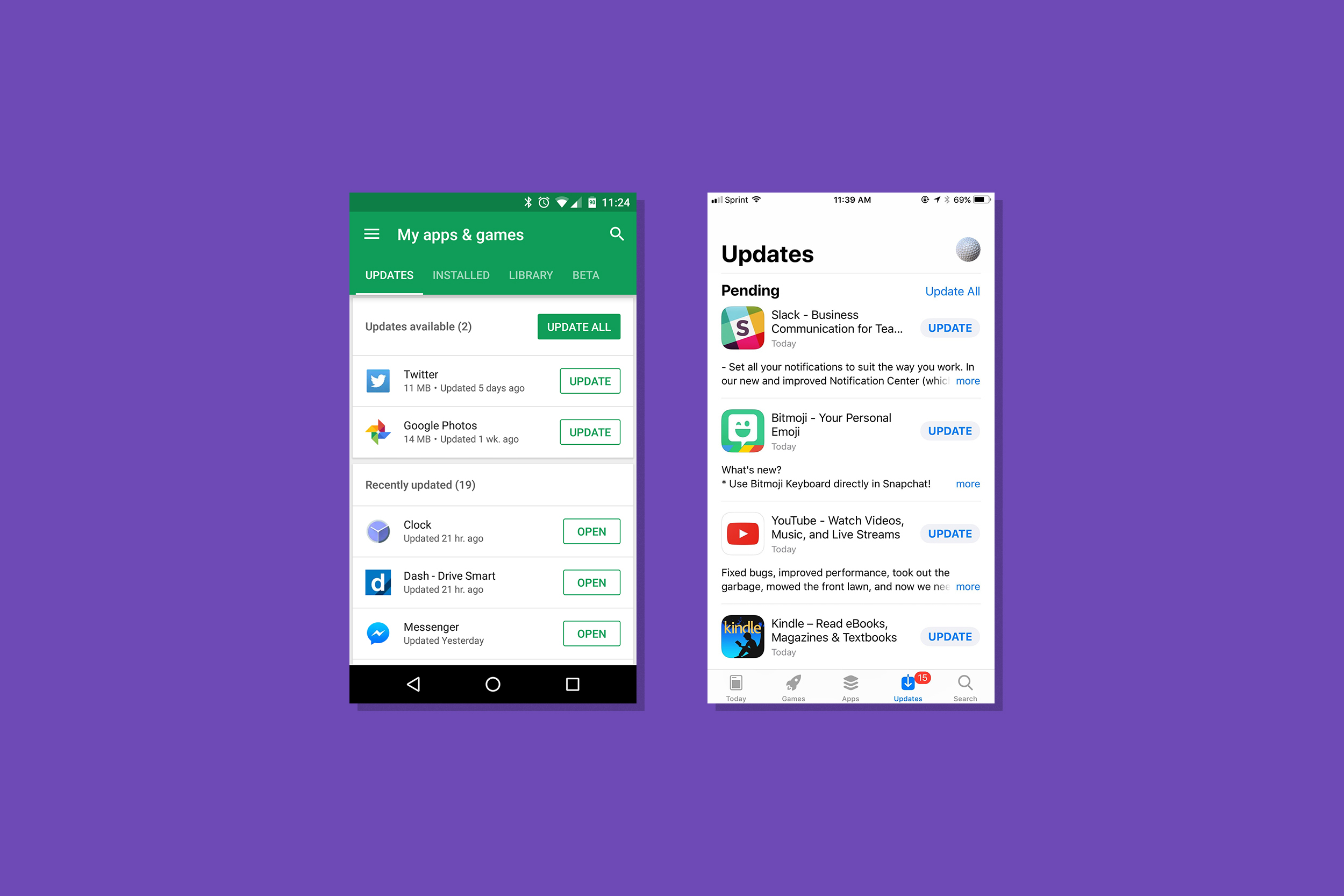 Update screens of Google Play Store and Apple App Store