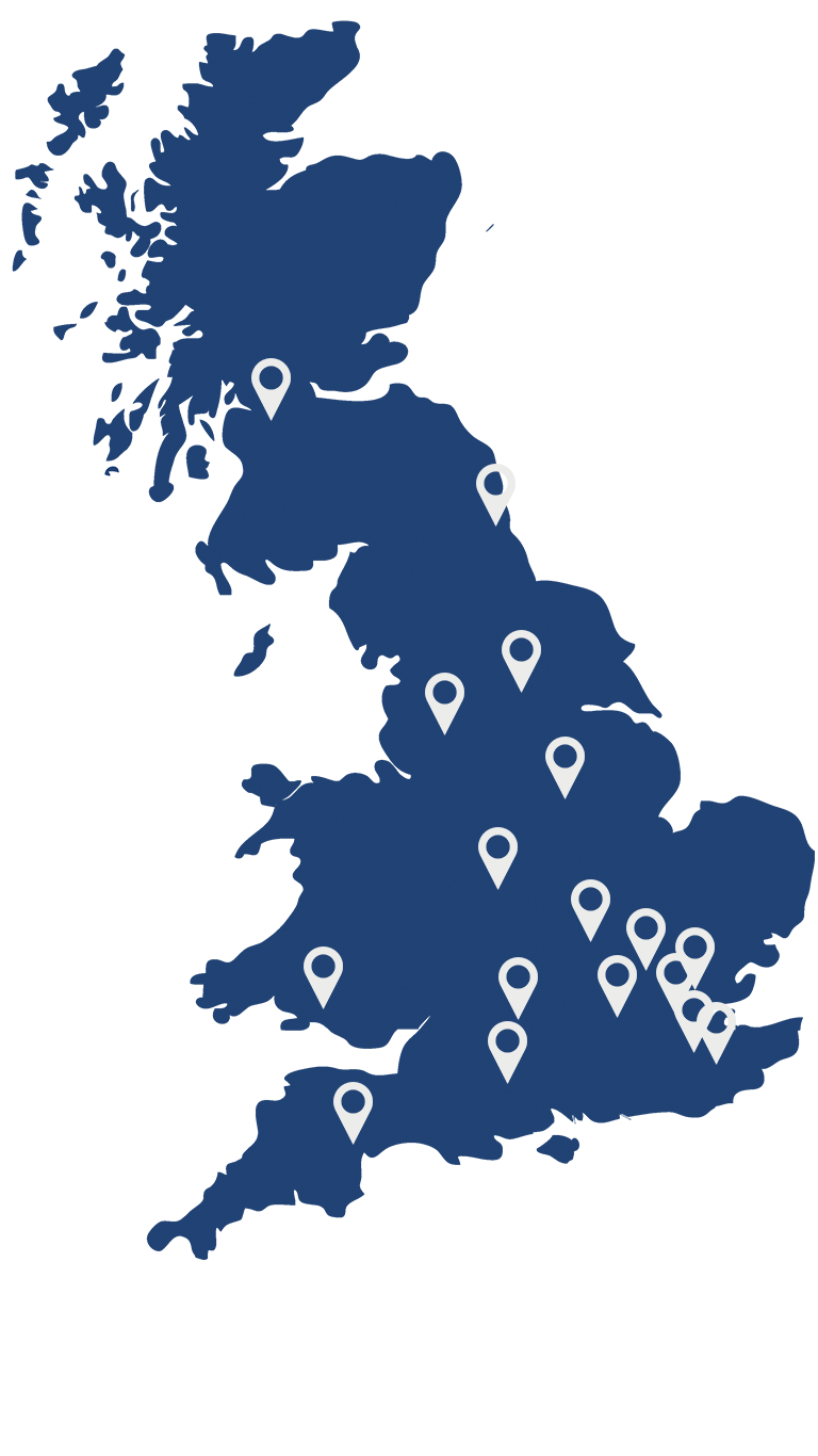 IPAF Courses Location Map - UK Wide IPAF courses.