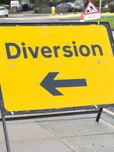 NRSWA Courses in Leeds - Yellow diversion sign, road works