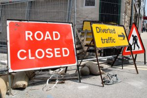 Lincoln Streetworks Training Centre - Roadworks and signs in street