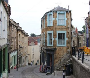 Frome town street, buildings and roads. CITB SSSTS courses.